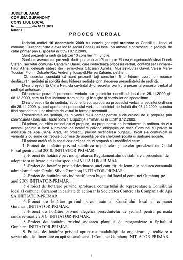 P R O C E S   V E R B A L 1.-Proiect de hotărâre privind stabilirea ...