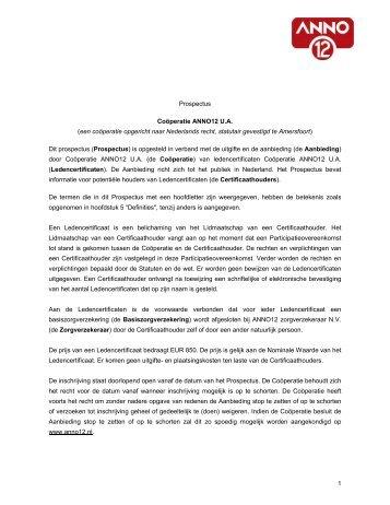 Prospectus Ledencertificaat Cooperatie ANNO12 UA [8 oktober 2014]