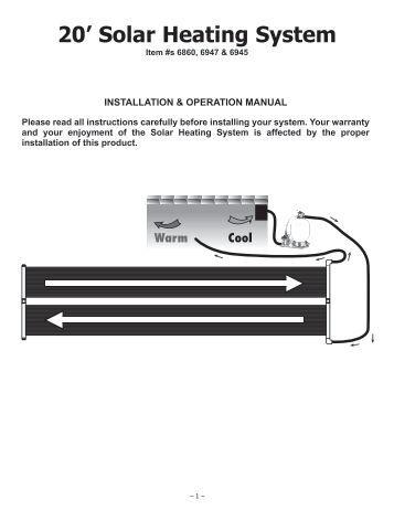 Solarpro xf flat panel pool heater model 4521 instructions - Swimming pool heater installation ...