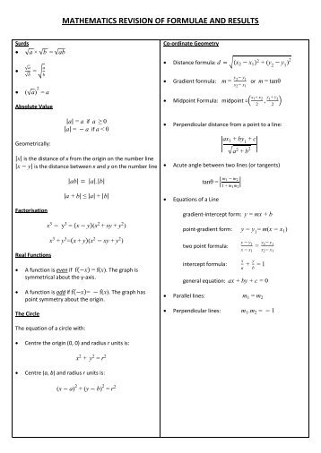 MATHEMATICS REVISION OF FORMULAE AND RESULTS