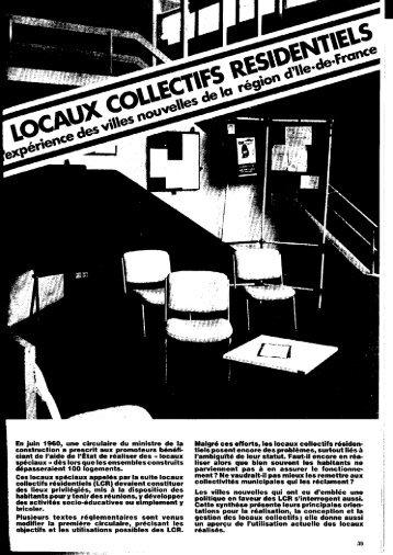 Locaux collectifs résidentiels : l'expérience des villes nouvelles de la ...