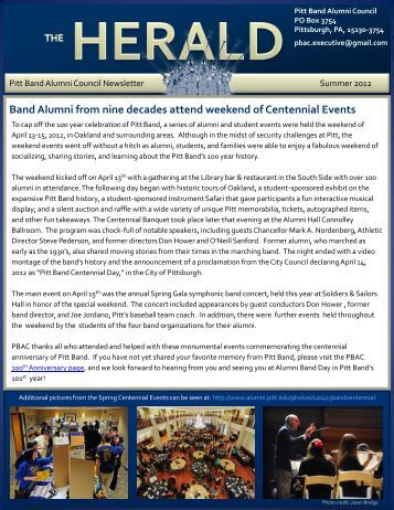 PBAC Summer 2012 Newsletter - Pitt Band Alumni Council