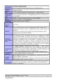 LINGUA FRANCESE - Scienze della Formazione