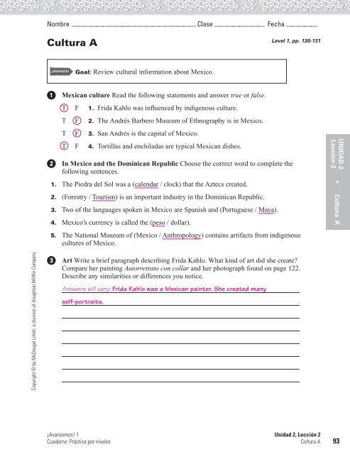 Spanish 3 Workbook Answers