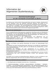 Bachelorstudiengänge an der Humboldt-Universität zu ... - HU Berlin