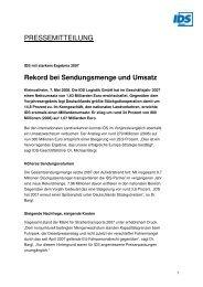 Rekord bei Sendungsmenge und Umsatz - IDS Logistik GmbH