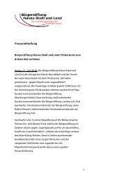 Pressemitteilung - Bürgerstiftung Hanau Stadt und Land