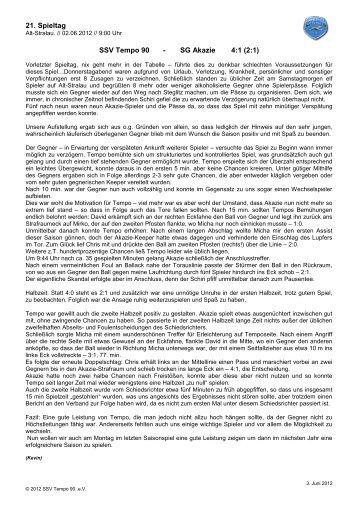 21. Spieltag SSV Tempo 90 - SG Akazie 4:1 (2:1) - SSV Tempo90 eV