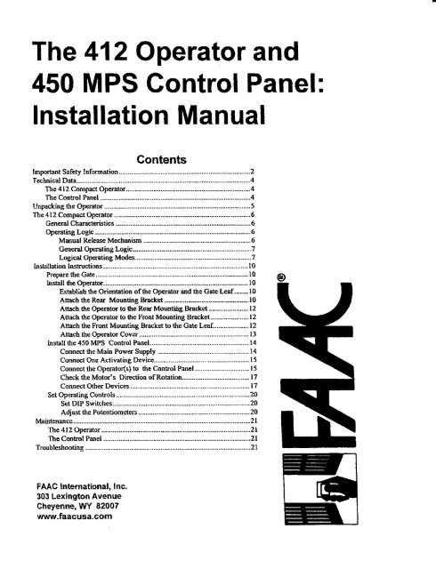 Faac 844 with 780d manual fast access security corp.