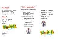 Fysiotherapie en bewegen voor kinderen in het FUN IE ... - De Klup