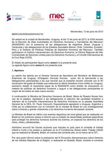 Montevideo, 13 de junio de 2013 MERCOSUR/RAADDHH ... - IPPDH