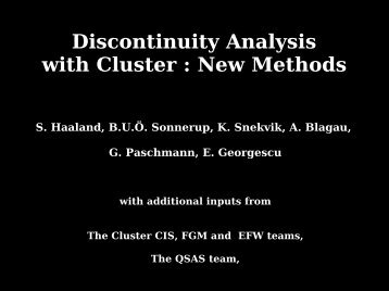 Discontinuity Analysis with Cluster : New Methods - GPSM