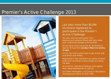 Premier's Active Challenge 2013 - Melton City Council