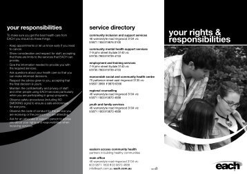 your rights & responsibilities - EACH