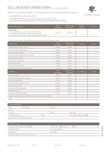 order form wine  Vasse Felix Wine Order Form - SPE WA
