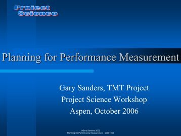 Planning For Performance Measurement - Project Science