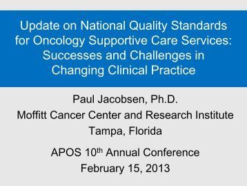 APOS 2013 Plenary Lecture - Moffitt Cancer Center