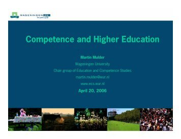 Competence and Higher Education - Martin Mulder, PhD