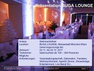 Präsentation BUGA LOUNGE - München Locations