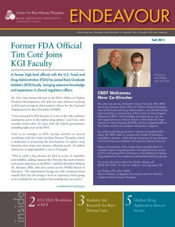 Endeavor Newsletter Fall 2011 - Keck Graduate Institute