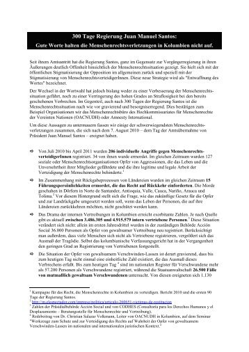 300 Tage Regierung Santos: - ask! Arbeitsgruppe Schweiz-Kolumbien