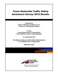 Texas Statewide Traffic Safety Awareness Survey: 2012 Results