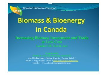 Biomass and Bioenergy in Canada