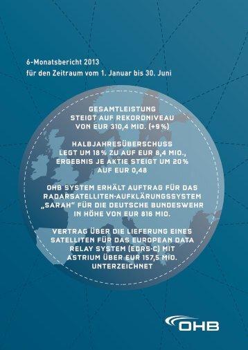 6-Monatsbericht 2013 für den Zeitraum vom 1. Januar bis ... - OHB AG