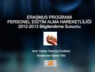 2012 - 2013 Personel Eğitim Alma Hareketliliği Bilgilendirme Sunumu