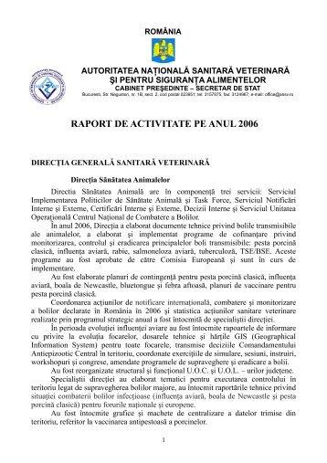 RAPORT DE ACTIVITATE PE ANUL 2006 - ansvsa
