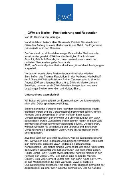 GWA als Marke – Positionierung und Reputation - Henning von ...