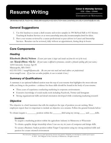 Resume Writing - Career and Internship Services - University of ...
