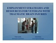 Employment Strategies for Veterans with TBI - Washington State ...