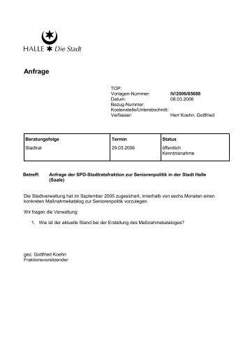 Anfrage - SPD Fraktion Halle