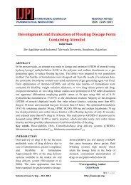 Development and Evaluation of Floating Dosage Form ... - IJPI