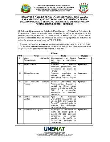 Edital nº 06/2012 - PROEC - Resultado Final - Unemat