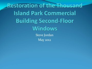 Restoration of the Thousand Island Park Commercial Building ...
