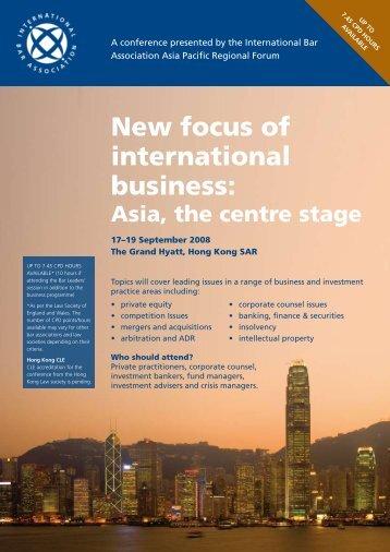 New focus of international business: - Hong Kong Bar Association