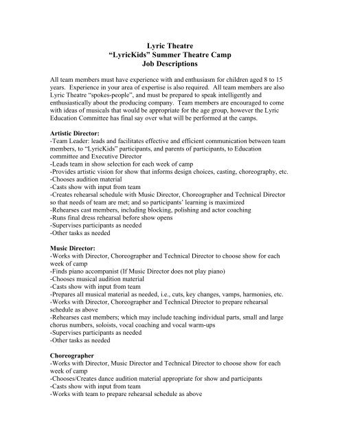 Lyric Theatre AEURoeLyricKidsaEUR Summer Camp Job Descriptions