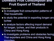 Domestic Fruit Consumption and Fruit Export of Thailand - SFB 564