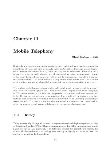 Chapter 11 Mobile Telephony - Communication Systems