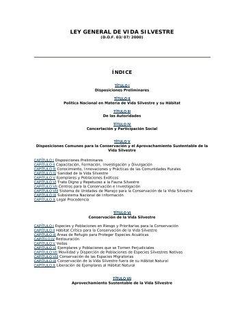LEY GENERAL DE VIDA SILVESTRE - Semarnat