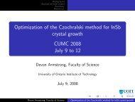 Optimization of the Czochralski method for InSb crystal ... - CUMC