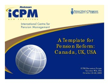 A Template for Pension Reform: Canada, UK, USA A Template for ...