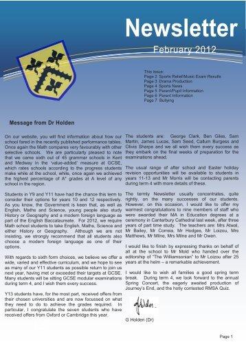 February 2012 - Sir Joseph Williamson's Mathematical School