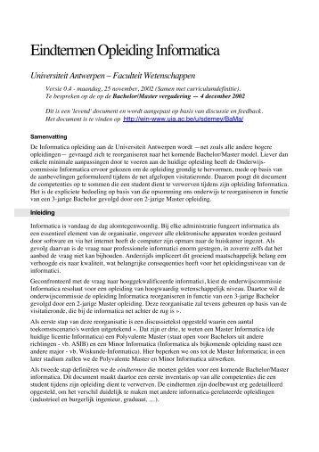 Eindtermen Opleiding Informatica - Universiteit Antwerpen