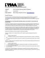 SUBJECT: FDA –Final Rule on Warning Labels for Cigarettes DATE ...
