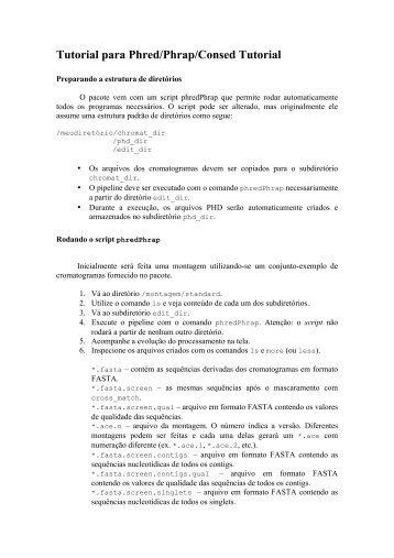 Tutorial para Phred/Phrap/Consed Tutorial - Coccidia.icb.usp.br