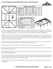 x 30' Master Series High Peak Frame Tent Directions - Celina Tent