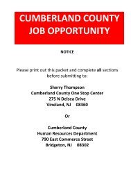 CUMBERLAND COUNTY JOB OPPORTUNITY